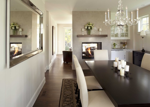 fireplace xtrordinair Dining Room Traditional with area rug banquet table