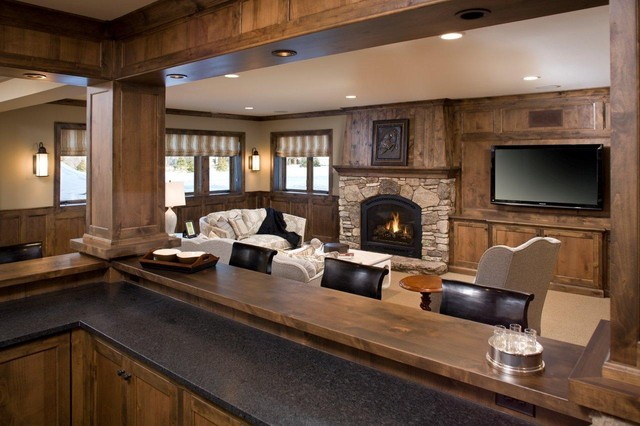 fireplace xtrordinair Family Room Rustic with bar ceiling lighting fireplace
