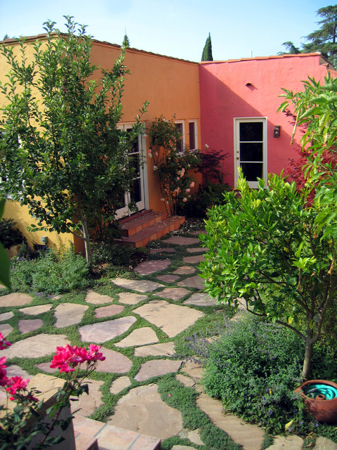 Flagstone Pavers Landscape Modern with Bold Colors Colorful Courtyard
