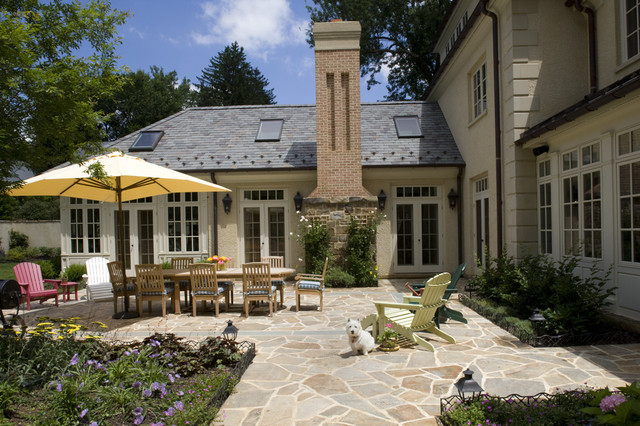 Flagstone Pavers Patio Traditional with Chimney Conservatory Flagstone French
