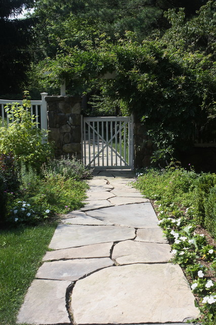 Flagstone Walkway Landscape Traditional with Arbor Bushes Covered Trellis
