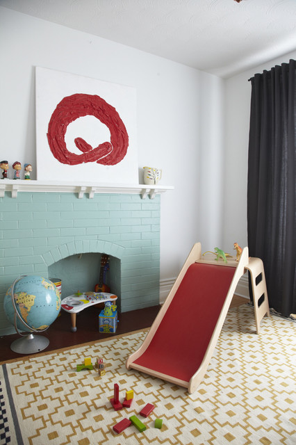 flat weave rugs Kids Scandinavian with Art art above fireplace