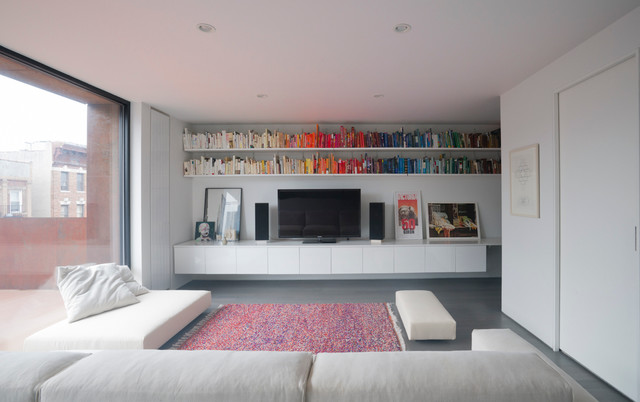 floating bookshelf Family Room Contemporary with brownstone colorful rug Custom