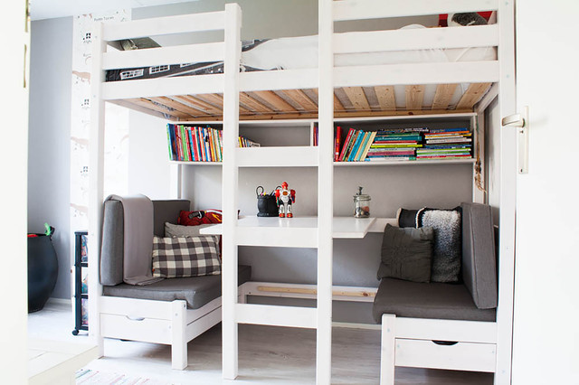 Floating Bookshelf Kids Scandinavian with Banquette Seating Book Storage
