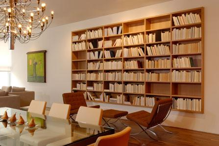 floating bookshelves Dining Room Contemporary with chandelier dining table family
