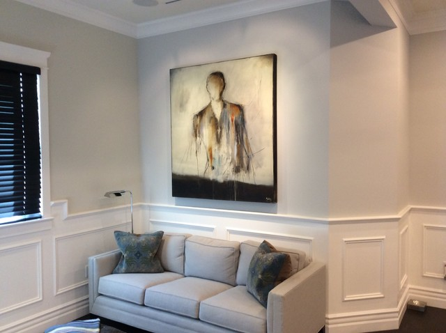 Floating Bookshelves Family Room Traditional with Classic Design Contemporary Artwork