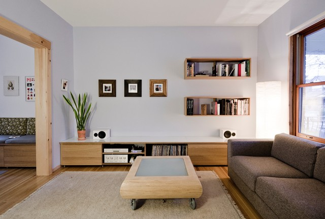 Floating Bookshelves Living Room Modern with Area Rug Banquette Seating