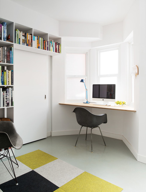 Floating Desk Ikea Home Office Contemporary with Bay Window Black Armchair