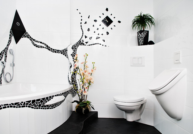 Flush Mount Chandelier Bathroom Contemporary with Badewanne Black and White