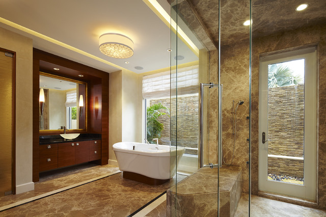 Flush Mount Chandelier Bathroom Contemporary with Built in Vanity Cascading