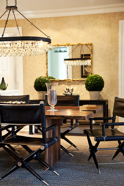 Foldable Chair Dining Room Transitional with Chandelier Console Table Dining