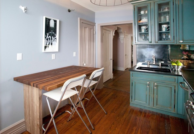 Foldable Chair Kitchen Eclectic with Antique Mirror Backsplash Aqua