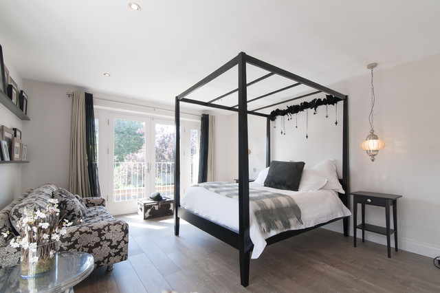 four seasons sunrooms Bedroom Transitional with black and white bedroom