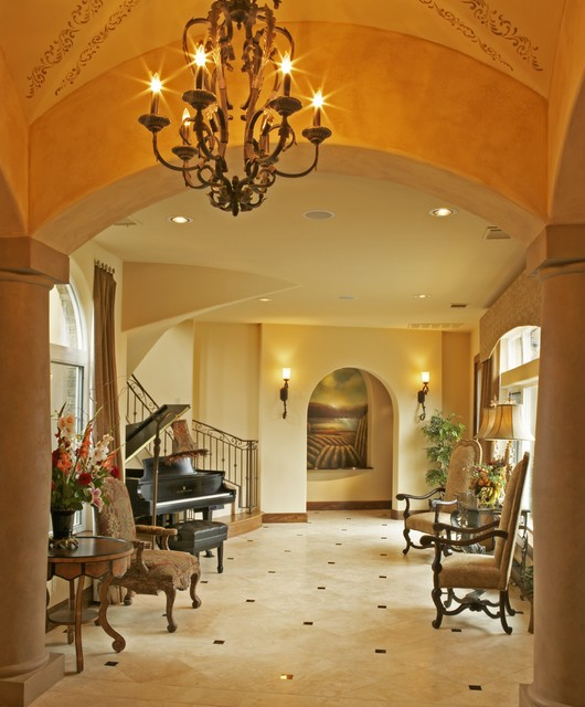 Foyer Chandeliers Entry Mediterranean with Archway Baseboards Ceiling Lighting