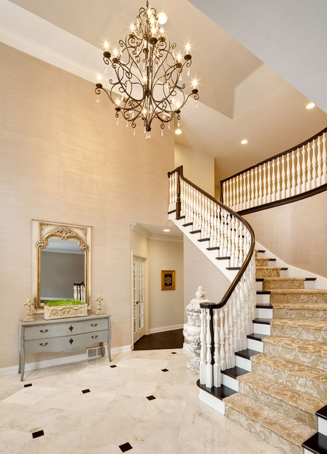 Foyer Chandeliers Entry Traditional with Banister Carpet Runner Chandelier