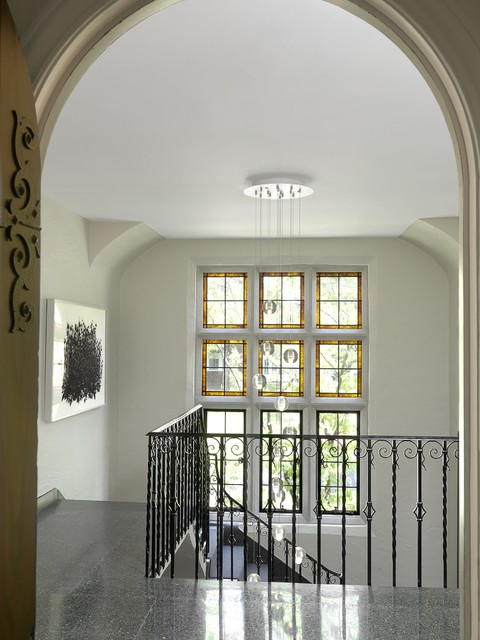 Foyer Chandeliers Staircase Victorian with Artwork Bubble Pendants Canopy