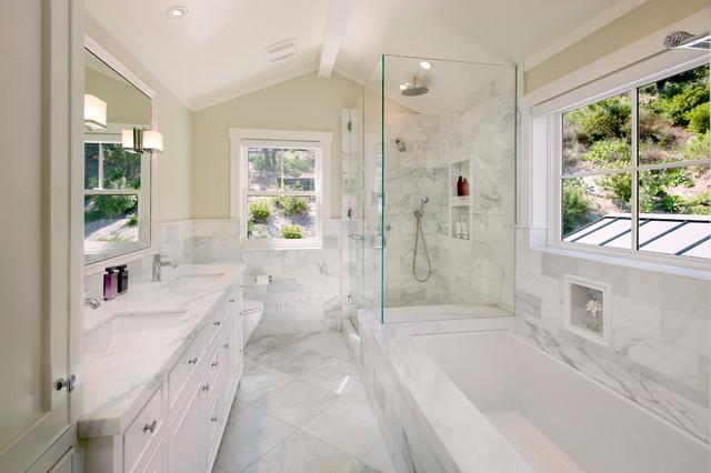 Frameless Shower Bathroom Traditional with Bathroom Board and Batten