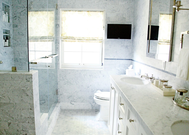 Frameless Shower Bathroom Transitional with Marble Countertops Marble Tile