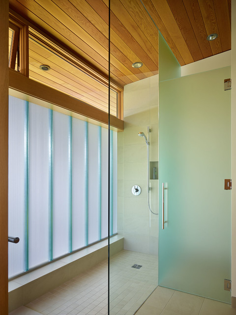 Frameless Shower Door Bathroom Contemporary with Bath Beige Tile Floor