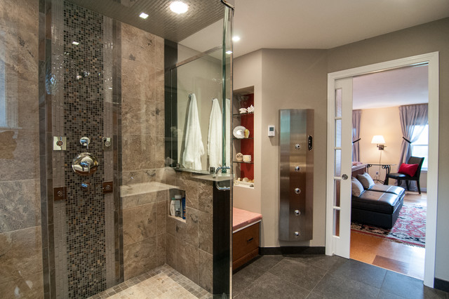 Frameless Shower Door Bathroom Contemporary with Bathroom Decor Bedroom Seating1
