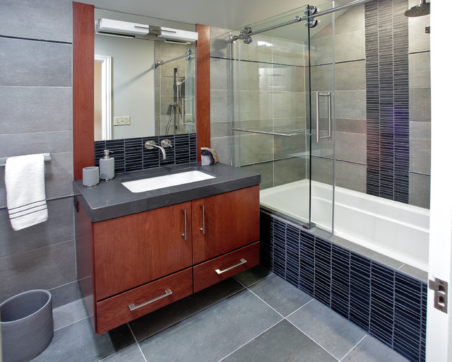 frameless shower door Bathroom Contemporary with bathroom lighting and vanity