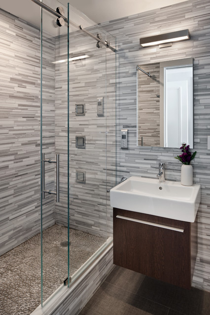 frameless shower doors Bathroom Contemporary with bathroom lighting deck-mount sink
