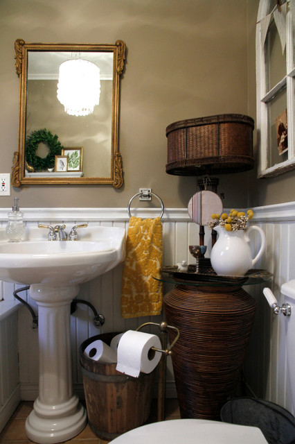 free standing toilet paper holder Bathroom Eclectic with ceramic sink chair rail