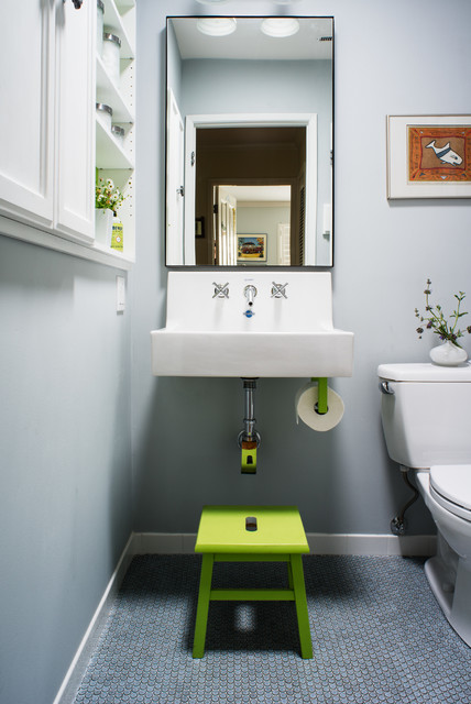 Free Standing Toilet Paper Holder Bathroom Transitional with Built in Cabinets Built in White
