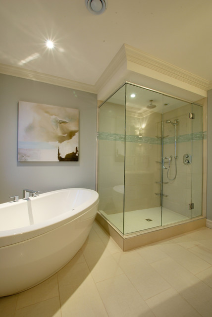 Free Standing Tubs Bathroom Contemporary with Abstract Painting Airy Blue