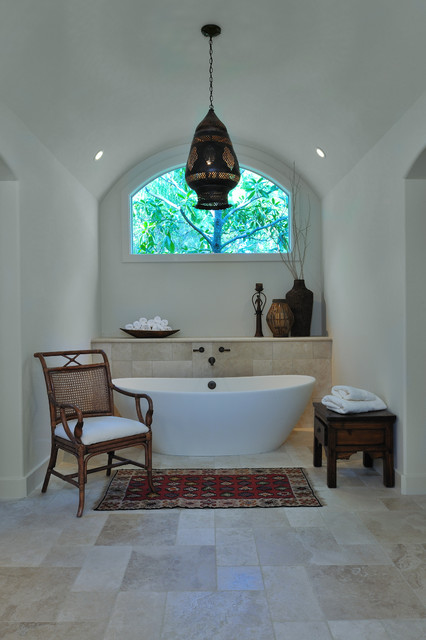 free standing tubs Bathroom Mediterranean with arched ceiling bathroom shelves