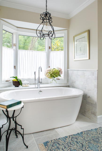 Free Standing Tubs Bathroom Traditional with Bay Window Cafe Curtains