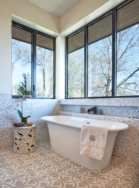 Free Standing Tubs Bathroom Transitional with Bathroom Tile Floor Tile