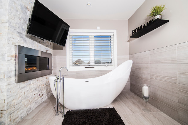 Freestanding Bathtub Bathroom Contemporary with Bathroom Fireplace Bathroom Tv