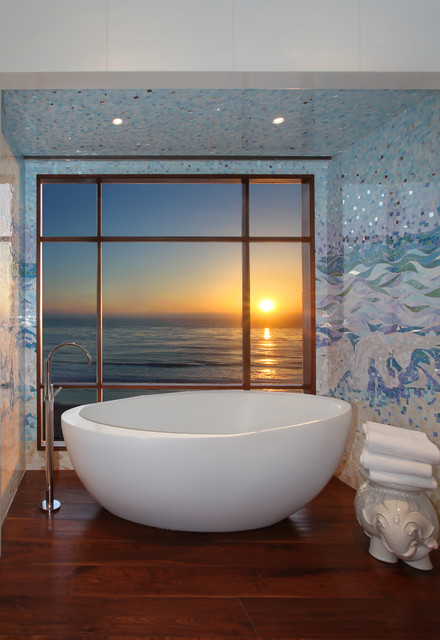 Freestanding Bathtub Bathroom Contemporary with Blue Mosaic Tile Blue