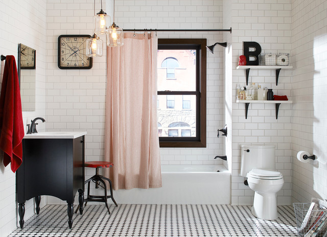 Freestanding Bathtub Bathroom Eclectic with 3x6 Subway Tile Black