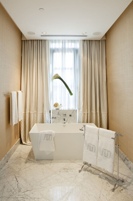 Freestanding Tubs Bathroom Contemporary with Ceiling Lighting Curtains Drapes