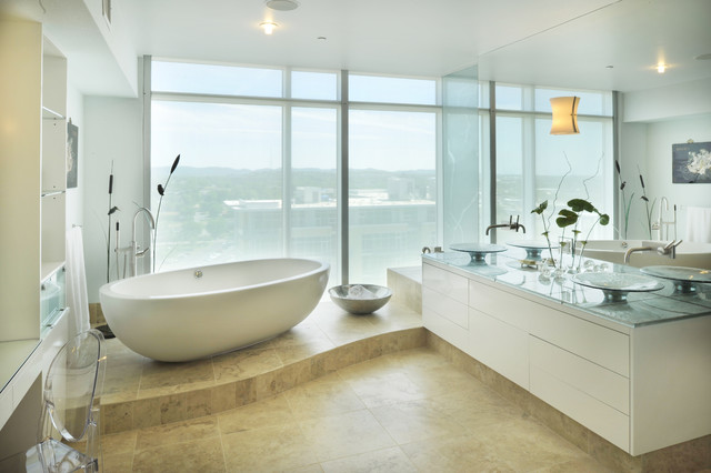 Freestanding Tubs Bathroom Contemporary with Ceiling Lighting Double Sinks
