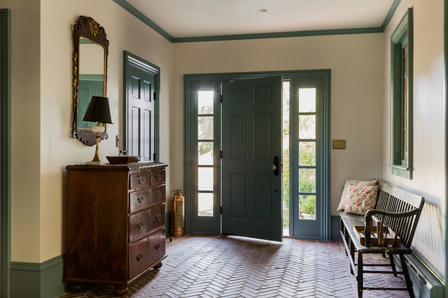 Front Door with Sidelights Entry Traditional with Beige Wall Brick Floor