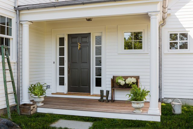 Front Door with Sidelights Entry Traditional with Black Front Door Clapboard