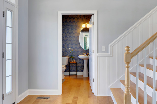 Front Door with Sidelights Powder Room Traditional with Bathroom Mirror Blue And
