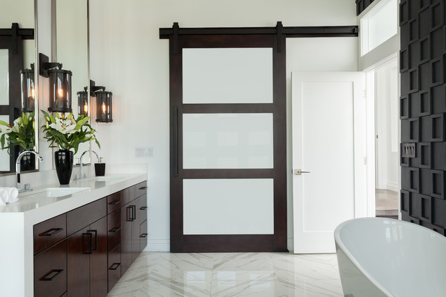 Frosted Glass Doors Bathroom Contemporary with 3d Tile Barn Door
