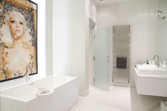 Frosted Glass Doors Bathroom Contemporary with Artwork Floating Vanity Freestanding