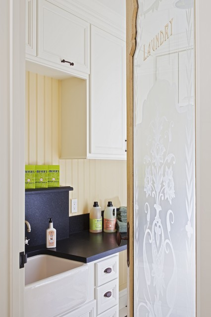 Frosted Glass Doors Laundry Room Traditional with Apron Sink Beadboard Country