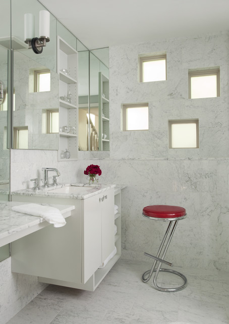 Frosted Window Film Bathroom Contemporary with Bathroom Mirror Marble Countertops
