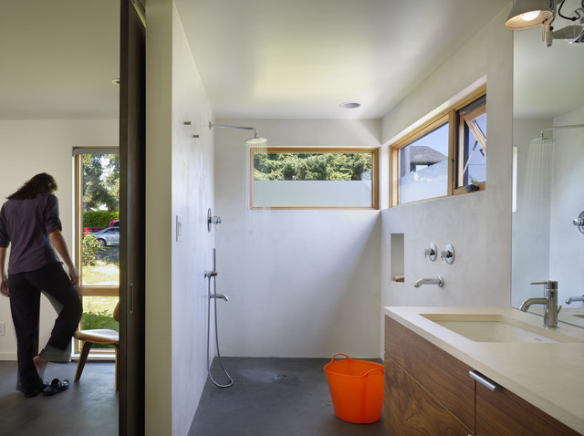 frosted window film Bathroom Modern with barn door barn hinge