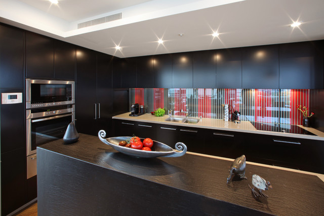 Frother Kitchen Modern with Dark Wood Island Minimal