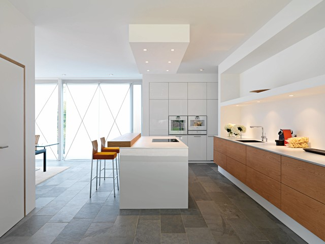 Frother Kitchen Modern with Dropped Ceiling Gray Flooring