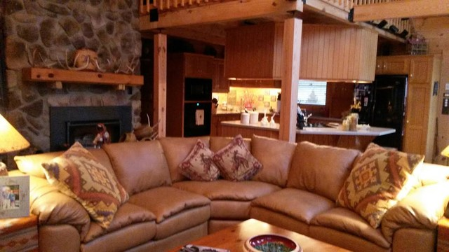 Full Grain Leather Sofa Family Room Southwestern with American Made Brown Leather