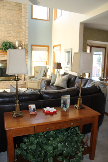 full grain leather sofa Family Room Transitional with blue and brown fireplace