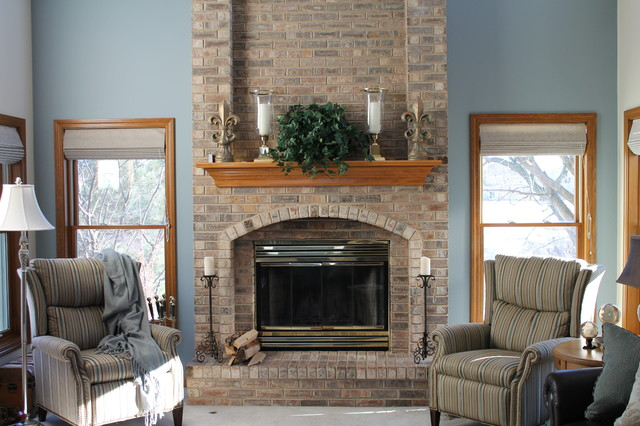 Full Grain Leather Sofa Family Room Transitional with Blue and Brown Fireplace1